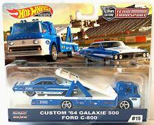 64 Ford Galaxie Custom 500 & C-800 TRANSPORTER Hot Wheels Car Culture Real Rider