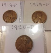 """New listing 1918 P, 1919 P & 1920 P Lincoln Cents """"good"""" album fillers $Free Shipping$"""