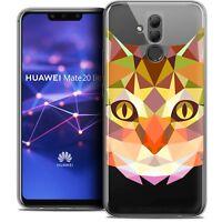 "Coque Gel Pour Huawei Mate 20 Lite (6.3"") Polygon Animal Souple Fin Chat"