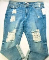 Just Fab Womens Distressed Destroyed Holes Denim Blue Jeans Pants Size 36W