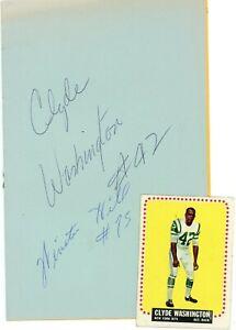 Clyde Washington (Dec 1974) Winston Hill HOF Signed Auto Autograph 1965 Program
