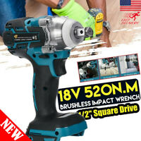 """Cordless Brushless Impact Wrench 18V 520Nm 1/2"""" Adapted to Makita Battery DTW US"""