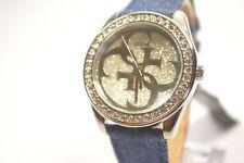 Guess W0627L1 G Twist Silver Dial Denim Strap Ladies Crystal Watch