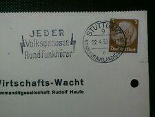 GERMAN SLOGAN POSTMARK STUTTGART 1938 CANCEL ON COMPANY PAPER POSTCARD