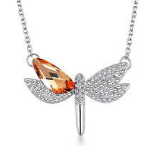 NEW Womens Dragonfly Orange Crystal Rhinestone Silver Chain Pendant Necklace
