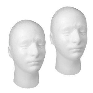 2x Mannequin Head Polystyrene Male Training for Wigs, Headphones (POLYM)