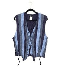 Vintage Issey Miyake Men's Crinkled Striped Polyester Vest Size M - New