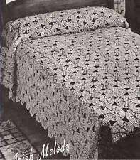 Vintage Crochet MOTIF BLOCK Bedspread Irish Mel Pattern