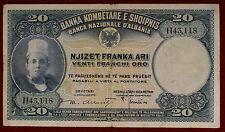 Albania Banca Nazionale 20 Franchi Oro 1926 Gavello 98 bb vf #B1100