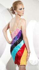 Terani Sequin Rainbow Stripe Prom cocktail Dress Y235, Size 4