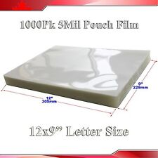 """Crysta Clear Letter Size Laminating Pouch Film 1,000Pk 5Mil 9x12""""  Thermal Hot"""
