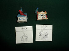 Lenox set of 2 Garden Birdhouse Miniatures
