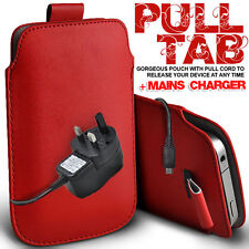LEATHER PULL TAB POUCH CASE COVER & MAINS CHARGER FOR VARIOUS HTC MOBILES