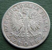 1934 Poland Coin 2 Zlote Queen Jadwiga Silver Y# 20 Rare
