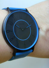 M&M Germany Uhr Damenuhr M11870-987 geradlinig Lederband blau COLOR BLOCKING