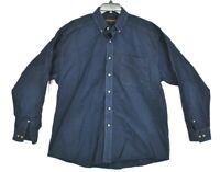 Ariat Mens Button Down Navy Blue Shirt Long Sleeve Cotton Curve Hem Size XL