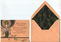 VINTAGE 1930's ART DECO HAND PAINTED CANDLE SWEETHEART WOODBLOCK GREETING CARD