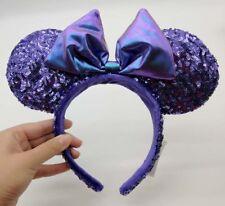 HONG KONG Disney Parks Purple Potion Iridescent Bow Sequin Minnie Ears Headband