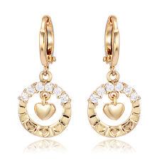 Girls Safety Hoop Earrings Heart Real 10K Gold Filled Crystal Teen Earings Kids