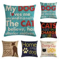 18'' Home Dog/Cat Cotton Linen Pillow Case Sofa Waist Throw Cushion Cover Decor