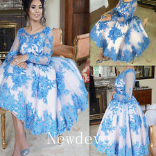 Blue Sequins Lace Evening Dress Tea Length Puffy Prom Gown Long Sleeves Custom