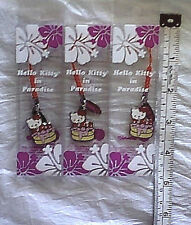 3 New Hello Kitty In Paradise Hawaii USA Charm Pendant Lot Sanrio