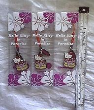 3 New Hello Kitty In Paradise Hawaii USA Charm Pendant Lot Sanrio