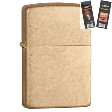 Zippo 28496 armor tumbled brass Lighter with *FLINT & WICK GIFT SET*