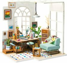 Soho Time Dollhouse Office Studio Craft Miniature DIY with LED Lighting Robotime