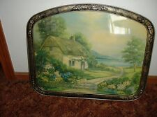 Old English Seaside Thatch Cottage Country Garden  Framed ART UNDER GLASS
