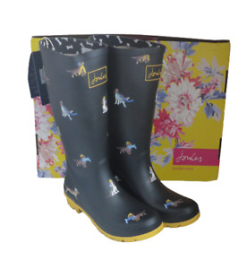 Joules 206800 Roll Up Welly Black Dogs Tall Height Wellingtons Wellies Box Sz 4