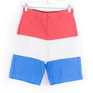 Vineyard Vines Club Shorts Boys Size 12 Red Cotton Twill Flat Front Khaki Chino