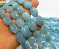 Natural 13x18mm Brazil Blue Aquamarine Oval Loose Beads 15 inches