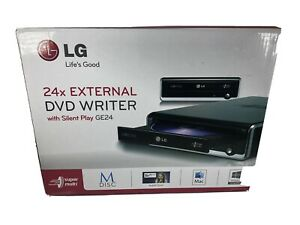 LG 24x External DVD CD Writer GE24 with Silent Play Windows and Mac compatible