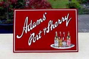 VINTAGE ADAMS LONDON PORT & SHERRY BAR OR COUNTER CARD / VELVET ADVERTISING SIGN