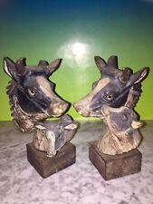 ATQ/VTG PAIR WESTERN Americana COW & CALF SCULPTURES Hand-Carved Wood Cowboy Art