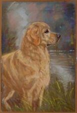 More details for golden retriever dog original pastel artwork painting  by the late julie stooks