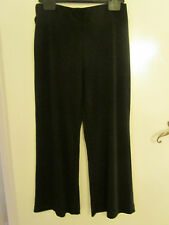 M&S Stretchy Black Evening Trousers with Crochet - Lace Bead Belt Size 10 Petite
