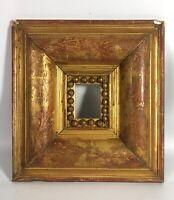 Ancien Cadre pour miniature bois et stuc doré à la feuille 30x28 vue 6,5x4,5 SE6