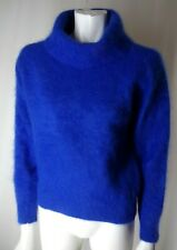 """Fuzzy 70% Angora Sweater Vintage 80s Electric Blue Cowl Pullover M 40""""-Bust"""