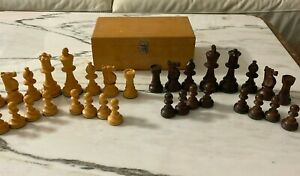 Wood Chess Pieces Set Of 32  with wood box -  King 3.5 Inch Tall - no board