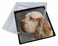 4x Clumber Spaniel Dog Picture Table Coasters Set in Gift Box, AD-CS1C