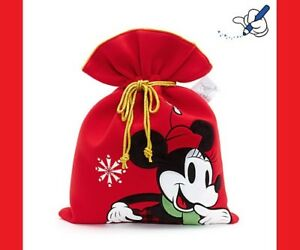 NEW With Tags Official Disney Store Minnie Mouse Christmas Sack Red Plush Mickey
