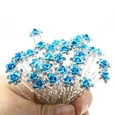 Accessoires cheveux 1 lot de 10 épingles à chignon fleurs à strass bleu clair