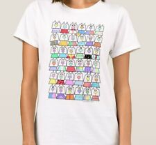 Cats T-shirt, whimsical cute cats, cattitude, cool graphic art tee, rainbow.