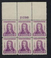SCOTT 726 1933 3 CENT GEORGIA BICENTENNIAL ISSUE PB6 MNH OG VF CAT $15!