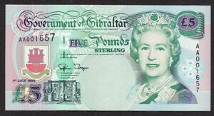 AA PREFIX GOVERNMENT OF GIBRALTAR 5 POUND BANKNOTE 1995 MINT UNCIRCULATED QE2