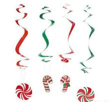 Christmas Candy Cane Hanging Swirl Decorations 12 Count Holiday Party Supplies