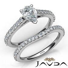 1.8ctw Separado V Pinza Set Nupcial Pera Anillo de Compromiso Diamante GIA E-SI1