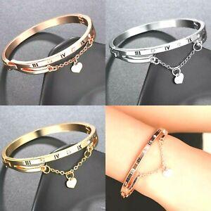 Ladies Silver Crystal Diamante Bracelet Rose Gold Heart Bangle Bridal Love Gift